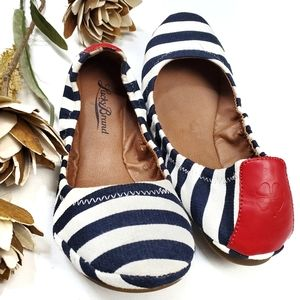 Lucky Brand Red White Blue Stripe Ballet Flats 7.5